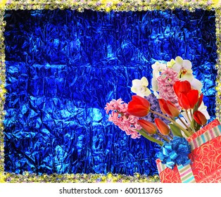 Flowers tulips,orchid,hyacinths with gift box.holiday background