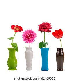 Flowers in a vase isolated on white background