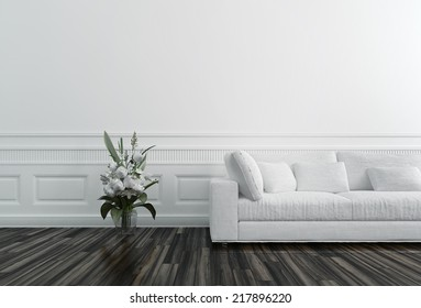 Flowers in Vase next to White Sofa in Luxury Upscale Home