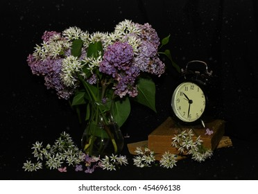 flowers in a vase - still life with lilac on a dark background with water drops