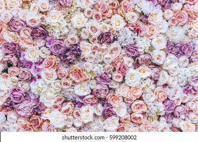 Flowers wall background with amazing red and white roses, Wedding decoration, hand made. Toning