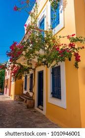 Flowers and walls of neoclassical houses in Nimborio on island of Halki (Greece)