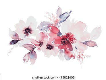 Flowers watercolor illustration. Manual composition.  Spring. Summer.