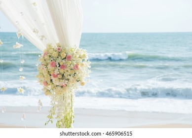 Flowers wedding ceremony by the sea.