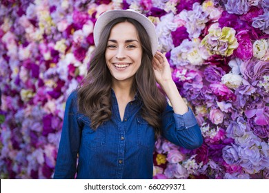 Flowers woman on the flowers background