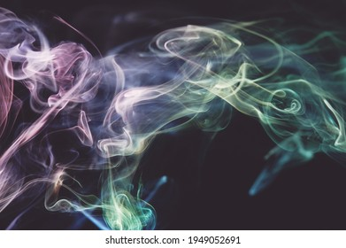 Flowing abstract shape air colorful waves on dark grey background