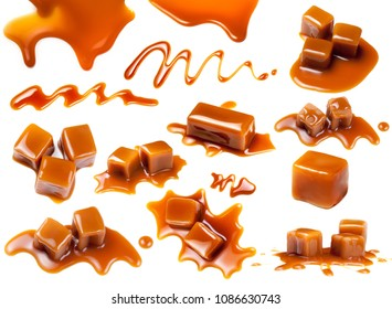 Flowing caramel sauce isolated on white background. Golden Butterscotch toffee caramel liquid