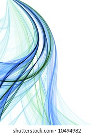 Flowing curves of blue green thread texture (fractal abstract background)