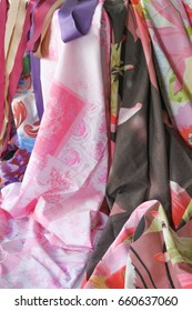 flowing draped textiles in soft pastel colors