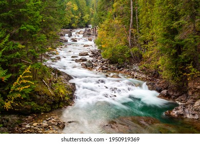 Flowing fresh river water on the Kaslo River in British Columbia, Canada.