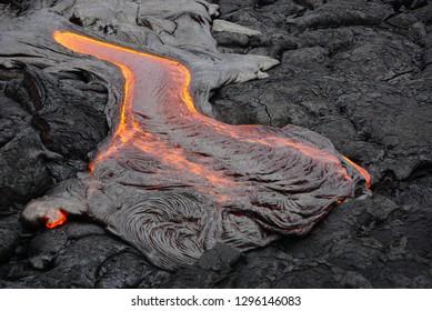 Flowing lava in Hawaii Big Island