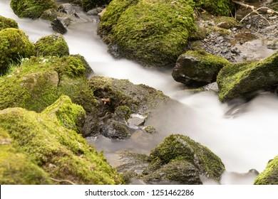 Flowing motion of Waterfall, Nenderoth, Hessen, Germany