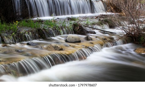 Flowing river in forest in mountains, long exposure, Kakopetria village, Troodos, Cyprus