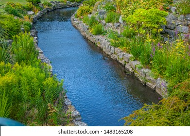 Flowing river with green plants