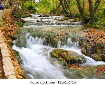 Flowing river in the plitvice lakes in croatia