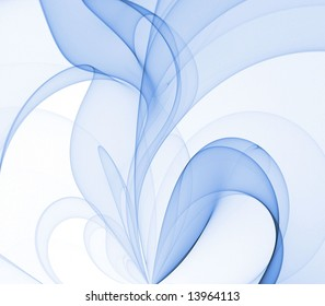 Flowing, soft blue fabric texture blends - fractal abstract background