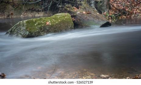 Flowing Stream Captured in long exposure