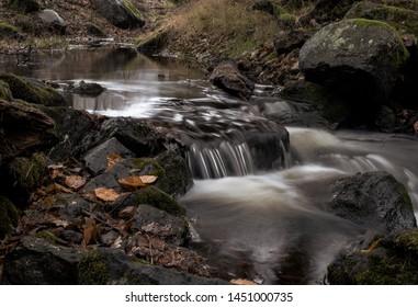 Flowing water in creek landscape