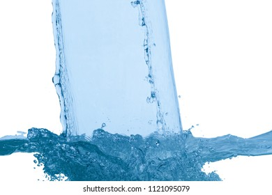 Flowing water, drops, sprays, splashes on a neutral background, studio light, abstraction, minimalism
