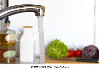flowing water in the kitchen
