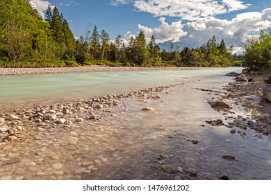 Flowing water of the river Isar in Bavaria