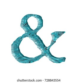 Flowing water textured ampersand or and sign symbol in a 3D illustration with a blue waves liquid effect surface style and jagged edge font isolated on a white background with clipping path.