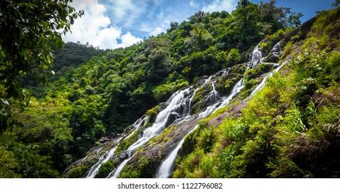 Flowing water of upper Tarangban Falls, in the mountains of Calbayog, Samar - Philippines