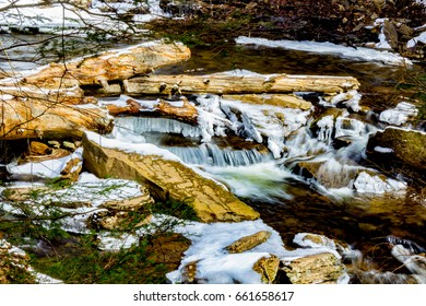 Flowing water in winter at Ricketts Glen State Park.
