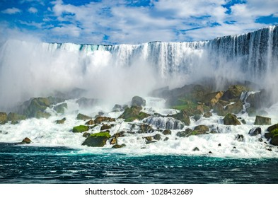 The flowing waterfall