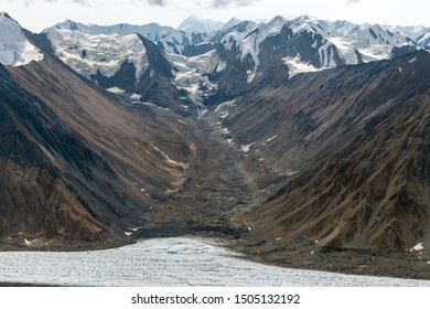 Flows from the mountains into Kaskawulsh Glacier in Kluane National Park, Yukon, Canada