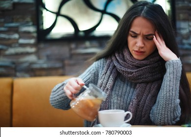 Flu cold or allergy symptom.Sick young woman having common cold.