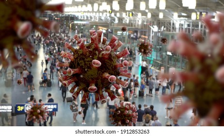 Flu coronavirus floating on air at passenger boarding area in international airport. Asian people travelling with suitcase for business or tourism on terminal. Pandemic of Covid19 virus infection