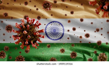 Flu coronavirus floating over Tiranga indian flag, a pathogen that attacks the respiratory tract. India banner waving with pandemic of Covid19 virus infection concept. Close up fabric texture ensign