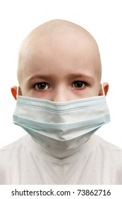 Flu illness child boy in medicine healthcare mask