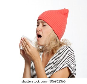 the flu illness, a young girl sneezes disease
