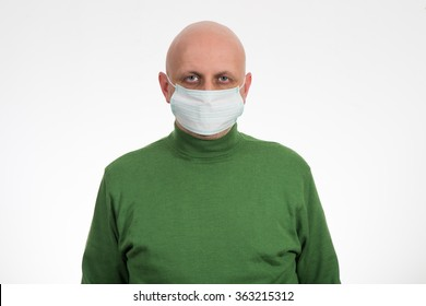 Flu illness young man in medicine healthcare mask