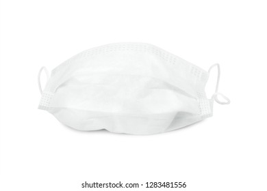 Flu mask isolated on white background. Pollution prevention mask. ( Clipping path )