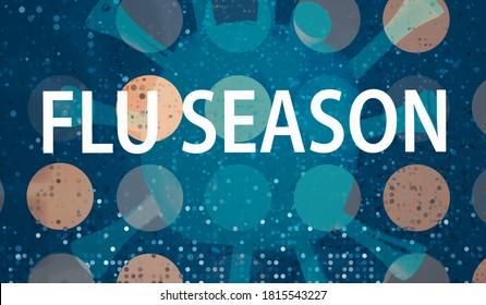 Flu Season Coronavirus theme with abstract dots and virus background