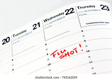 Flu shot reminder on calendar.  Get it before the Thanksgiving holiday when you are part of a gathering with friends and family who are at risk, young children and the elderly