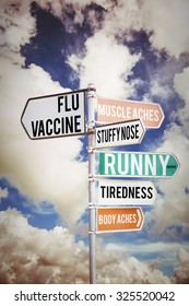 flu shots against multi colored sign posts against cloudy sky