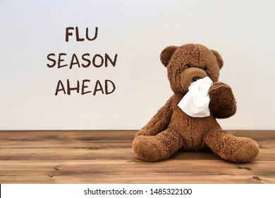 """Flu: teddy bear with a tissue because of Coronavirus covid-19 (flu) with the words """"flu season ahead"""" in the background"""