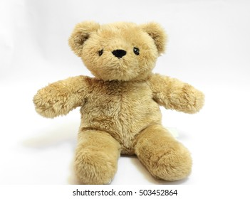 fluffy  brown bear toy  with  gray sweater  isolate in white background