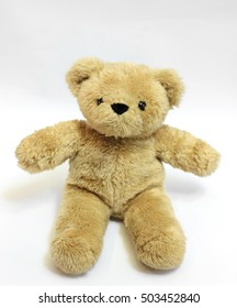 fluffy  brown bear toy  with   isolate in white background