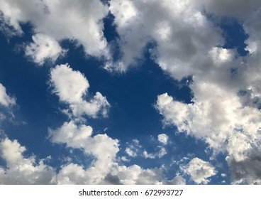 fluffy cloud on sunny day