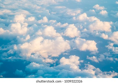 Fluffy clouds texture in blue sky background and wonderful day with nature fresh air.