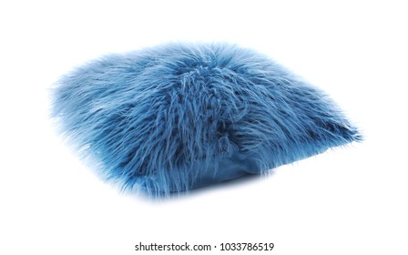 Fluffy color pillow on white background