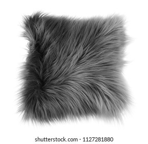 Fluffy decorative pillow on white background