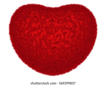 Fluffy glowing red heart isolated on white. 3D rendering of symbolic heart.