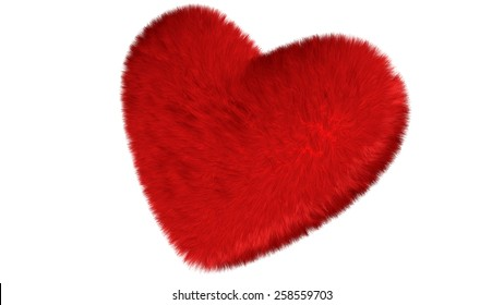 Fluffy heart isolated over the white background