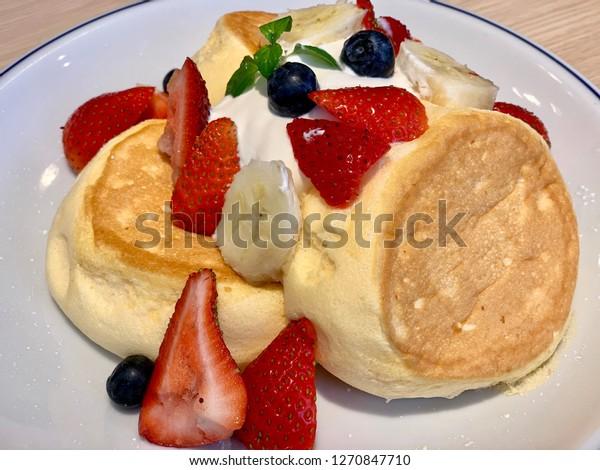 Fluffy Japanese strawberry pancake, blueberry banana